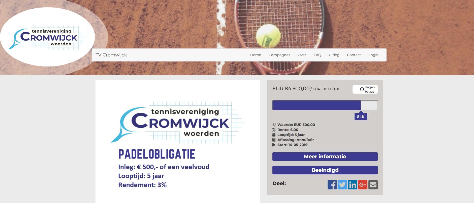 Cromwijck obligatiepagina